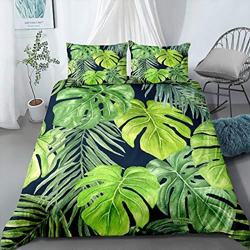 Prinbag Tropical Plants Bettwäsche Set Rainforest Bettbezug Kissenbezug Home Quilt Cover Jungen Mädchen Cartoon Bettwäsche 135x200cm