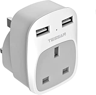 USB Wall Plug Adapter, TESSAN Multi Power Adaptor Plugs Outlet with Dual USB Ports, Mini for Home Office Hotel, 13A Fuse I...