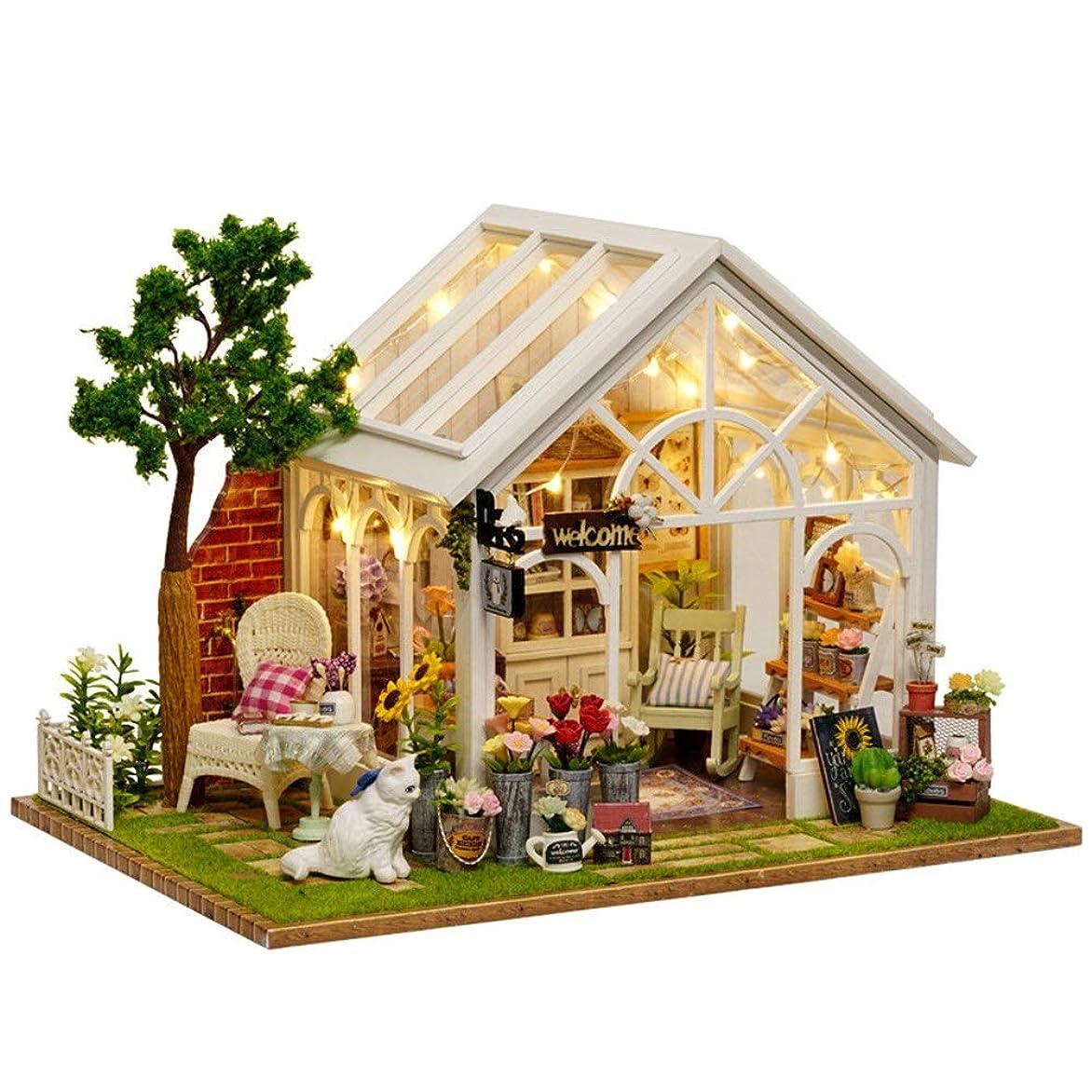 あごひげ鋼仲間DIYドールハウス 大人と子供のためのDIYミニチュアドールハウスキット3D木製ドールハウスプラス防塵 DIY 模型 (Color : White, Size : 22x19x17.5cm)