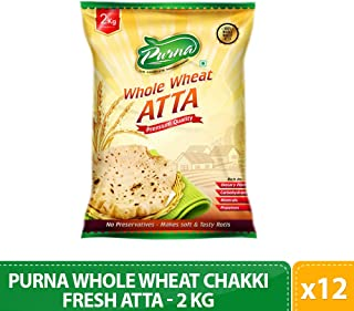 Purna Whole Wheat Chakki Fresh Atta - 2 kg(Pack of 12)