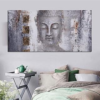 Cuadro En Lienzo Arte De Pared,Tamaño Grande Buda Gris Pintura Abstracta Creativas Fotos De Impresión sobre Lienzo Cartel Mural para El Salón Decoracion Pinturas,28X56 Pulgadas (70Cmx140Cm)