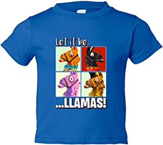 Camiseta niño ilustración parodia Let It Be Llamas - Azul Royal, 12-14 años