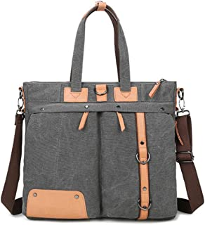 Mens Bag Office Business Man Canvas Multifunction Briefcase Shoulder Messenger Crossbody Satchel Casual Backpack Handbag Khaki High capacity