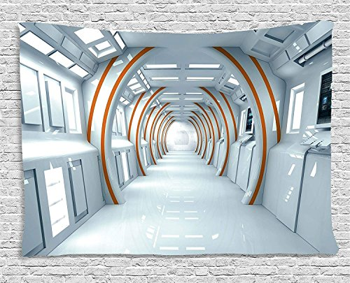 XHFITCLtd Fantasy Tapestry, Futuristic Hallway of Spaceship Digital Architecture Sci Fi Style Inner View, Wall Hanging for Bedroom Living Room Dorm, 60 W X 40 L Inches, Baby Blue Orange