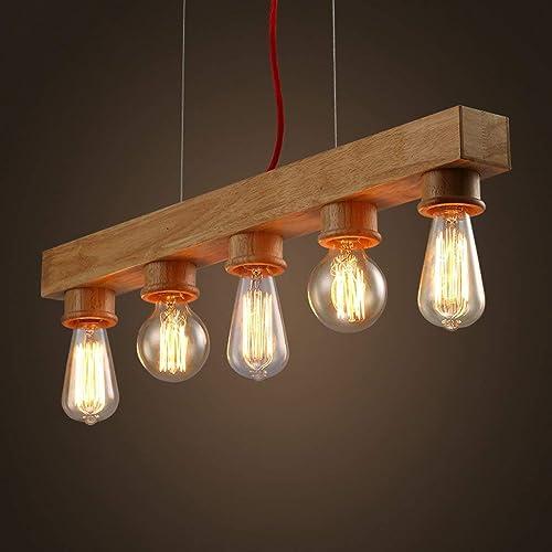 LQB Edison Native bois Lustre en Bois Fait à la Main Suspendus LED Pendentif Lampe