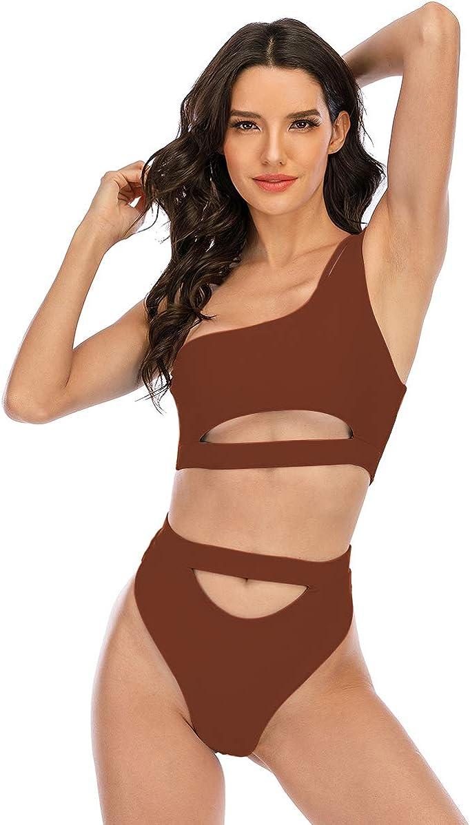 SherryDC Women's One Shoulder Crop Top Cutout High Rise High Leg Cheeky Bikini Swimsuit