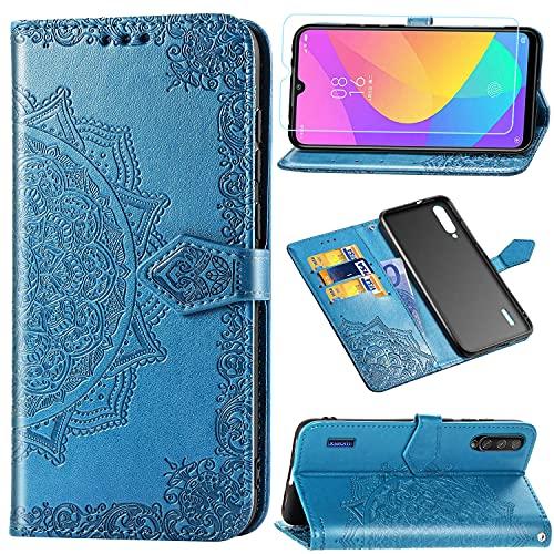Funda para Xiaomi Mi A3 + Protector de Pantalla Cristal Templado, Carcasa Libro con Tapa Flip Case Antigolpes Golpes Cartera PU Cuero Suave Soporte con Correa Cordel - Mandala Azul