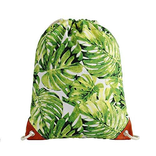 AIURBAG Blätter Gedruckt Muster Canvas Kordelzug Shopping Travel Rucksack Für Frauen & Männer-Yoga Sporttasche