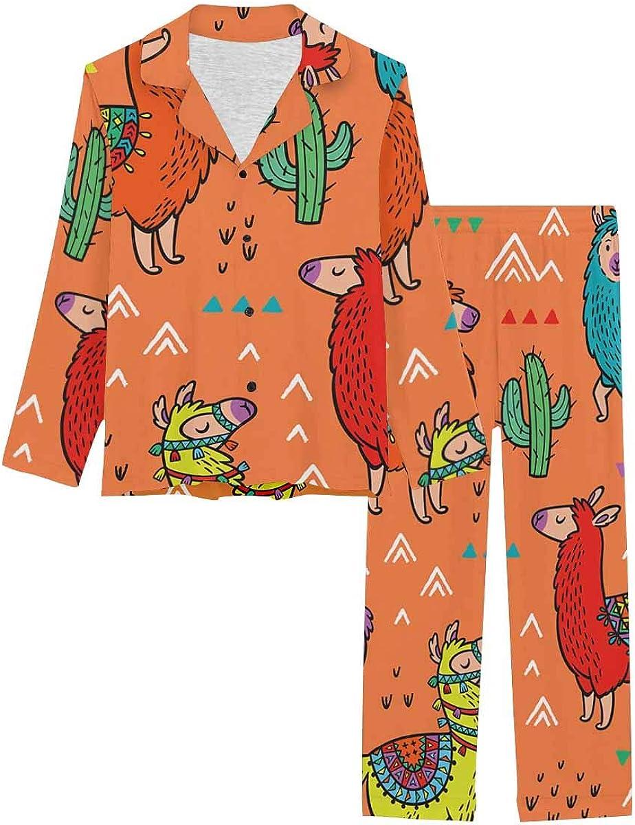 InterestPrint Long Sleeve Nightwear Button Down Loungewear for Women Lamas Pattern