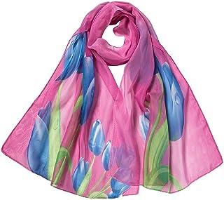 Goenn 女性のスカーフファッション女性フラワーチューリップロングソフトラップスカーフショールスカーフ