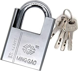 High security padlock 40mm armored iron - heavy duty padlock, including 4-button 3-layer chrome body, 1.4-inch closed shackle for indoor and outdoor use, gym, door, fence, bicycle, garage, truck, tool