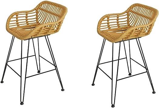 Amazon Com Rattan Bar Stool Wrought Iron Chair Leisure Wicker Simple High Stools Breakfast Single Piece Combination Size Two Set Furniture Decor