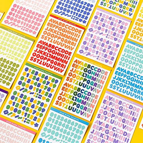 30 Blätter Selbstklebende Alphabet Stickers Aufkleber Buchstaben Buchstaben Zahlen Aufkleber, für Geburtstagskarten Bücher und Home Decor Notizbücher Tagebücher Postkarten Kinder DIY Scrapbooking