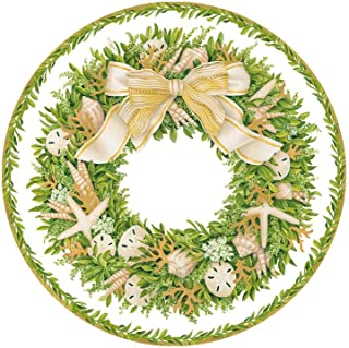 Coastal Christmas Decorations, Beach Christmas Decor, Christmas Paper Plates, Salad Plates, Dessert Plates, Christmas Part...