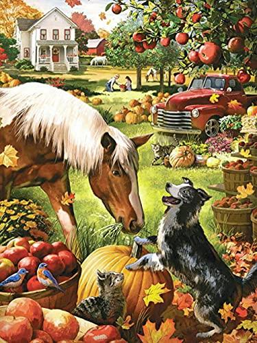 5D DIY Kit de pintura de diamantes redonda Cuadrado grandes Otoño cosecha granja caballo perro gato cristales de estrás...