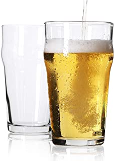 Pint Glass,British Style Imperial Beer Glasses(Set of 2),English Pub style Ale glassware ,Unique Design Lager Drinking Gla...