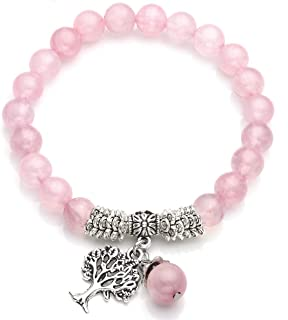 Stretch Rose Quartz Tree of Life Lucky Stone Bracelet Reiki Healing Crystal Gemstone Dangle Charms Pendant Birthstone Bracelet(6.2