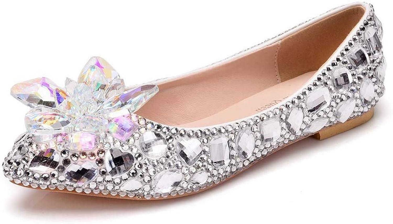XLY Damen Strass Spitzen high Heels, Hochzeit große größe kristall Blaume Flache Ferse Schuhe  | Ausgezeichnetes Preis  | Günstige Bestellung  | Günstige Bestellung