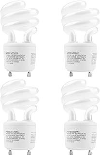 JACKYLED CFL Light Bulbs Energy Efficient UL T3 13W 2700K 900lm Spiral GU24 Base Compact Flourescent Bulbs 4-Pack