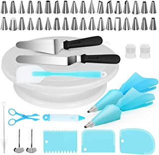 Kootek Cake Decorating Kits Supplies 52-in-1 Baking Accessories with Cake Turntable Stands, Cake Tips, Icing Smoother Spatula, Piping Pastry Bags and Decorating Pen Frosting Tools Set Kitchen Utensils