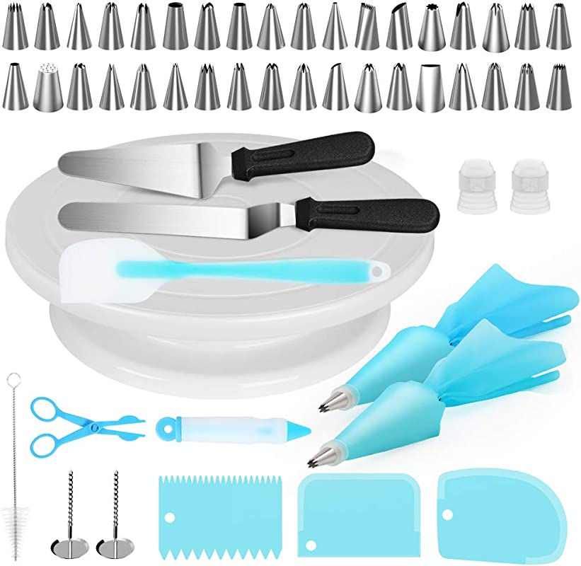 Kootek Cake Decorating Supplies 52 In 1 Baking Accessories Turntable Stands Cake Tips Icing Smoother Spatula Piping Pastry Bags And Decorating Pen Frosting Tools Set Kitchen Utensils