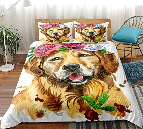 zpangg 3 Piece Bed Set Cute Golden Retriever Dog Duvet Cover Soft Microfiber Single Double King Size Bed 3 Piece Set 2 X Pillowcases 1 X Quilt Case 135×210Cm