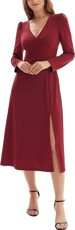 KANCY KOLE Women's Sexy Deep V-Neck Puff Long Sleeve Slim Fit Split Flared A Line Dress S-XXL