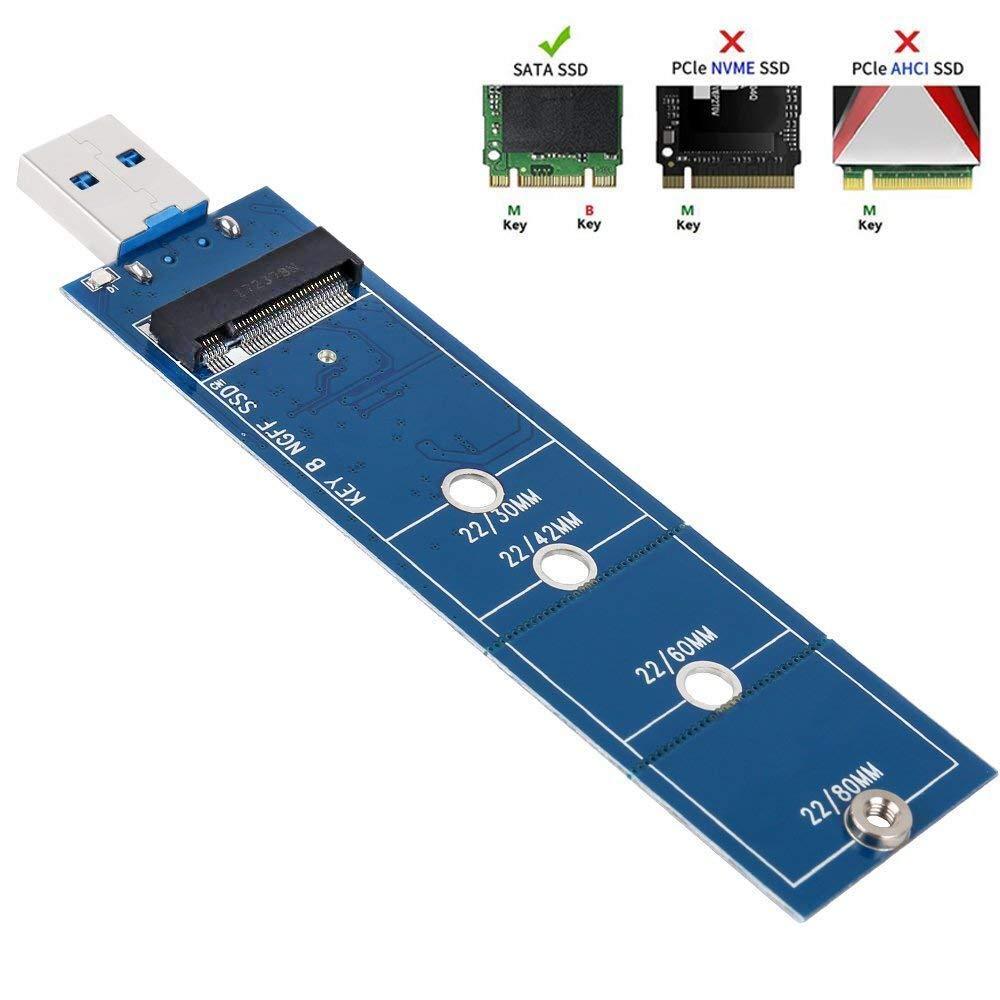 Adaptador QNINE M.2 a USB, Llave B M.2 Adaptador de Disco Duro USB 3.0 (