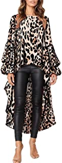 neveraway Women's Leopard Print Hi Low Plus Size Dress Tunic Top Blouse