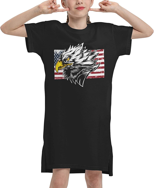 American Bald Eagle Summer Girls Dress Casual Cotton Short Sleeve Skirt Dresses for Girls Kids 7-12 Years