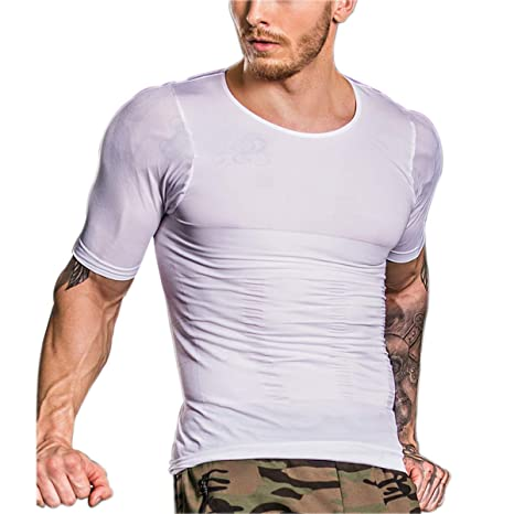 Sodacoda Men/´s Body Shaping T-Shirt Arms and Abdomen Gynecomastia Shortsleeved Shirt Strong Compression for Chest