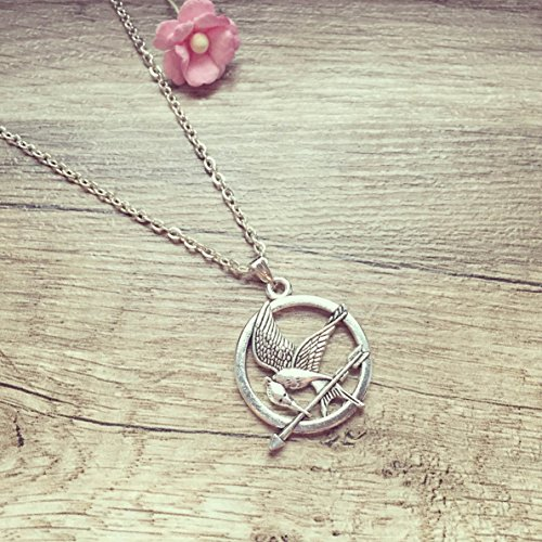 Kurze Kette Spotttölpel Silber, mockingjay/bird/vintage/ethno/hippie/must have/statement/florabella schmuck/bird/fan/film/Wappen/freiheit