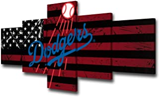 American Sports Canvas Wall Art Major League Baseball Picture Angeles Dodgers Team Logo Prints Painting House Modern Decor for Living Room 5 Panel Framed and Stretched Ready to Hang(50Wx24H inches)