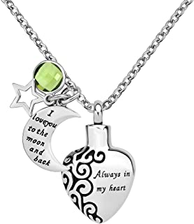 Jan-Dec Birthstone Always in My Heart Cremation Urn Necklaces for Ashes Memorial I Love You to The Moon and Back Pendant with Fill Kit