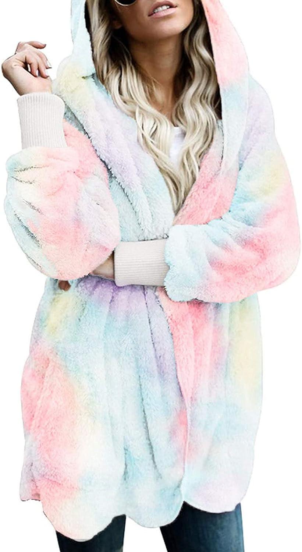 Women Tie Dye Hooded Open Front Cardigan Fuzzy Jacket Winter Warm Soft Fleece Coat Plush Outwear with Pockets