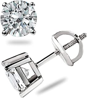 42423d65f 2.00 Ct Diamond Studs Solitaire Earrings Real Solid 14K White Gold 1 Pair