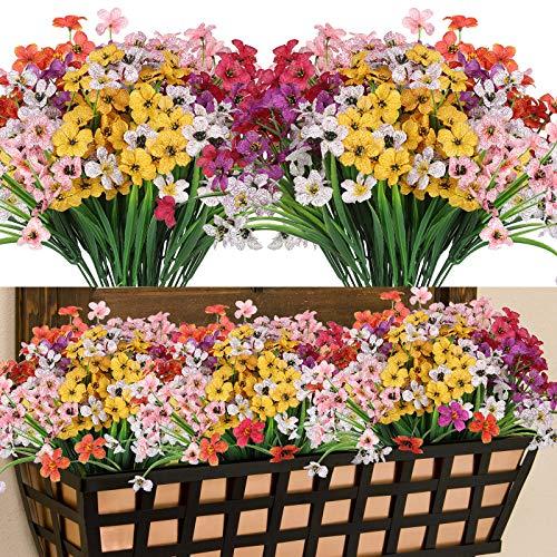 Lot de 12 Fleurs Artificielles Deco, 6 Couleurs Résistant aux UV Bouquets de Fleurs Artificielles Extérieur Intérieur, Plantes en tissu Plastique pour Maison Jardin Mariage Décoration (Aquatique)