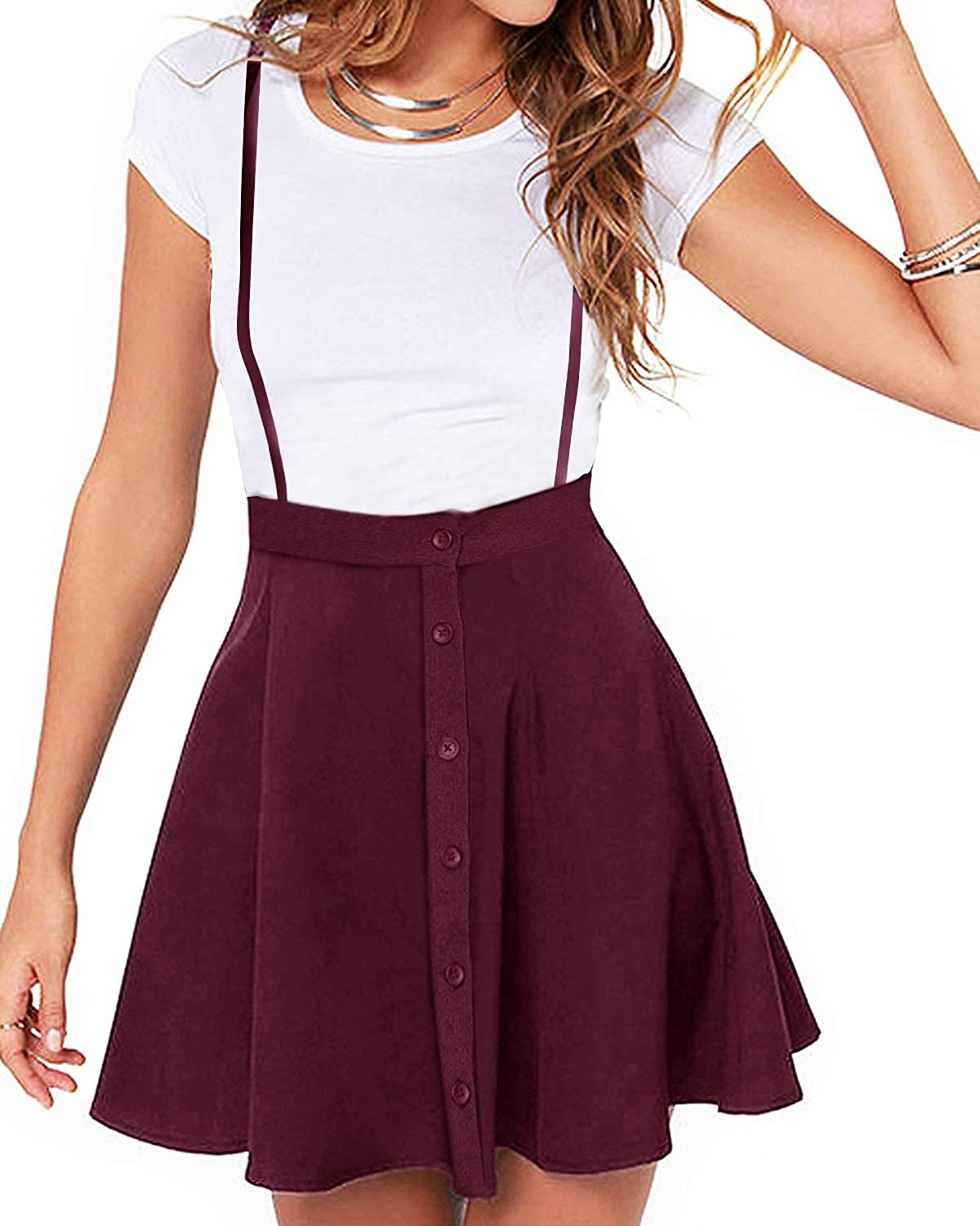 YOINS Overall Pinafore Dresses Luxury goods gift for M Women Button Design Pleated