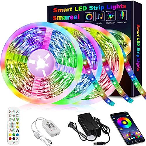 50ft Led Strip Lights, smareal Led Lights Strip Music Sync Color Changing Led Strip Lights App Control and Remote Led Lights for Bedroom Party Home Decoration