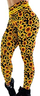 High Waisted Floral Leggings Sunflower Hip Breathing Exercise Running Pants