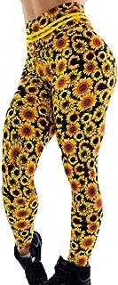 High Waisted Floral Leggings Sunflower Hip Breathing Exercise Running Pants