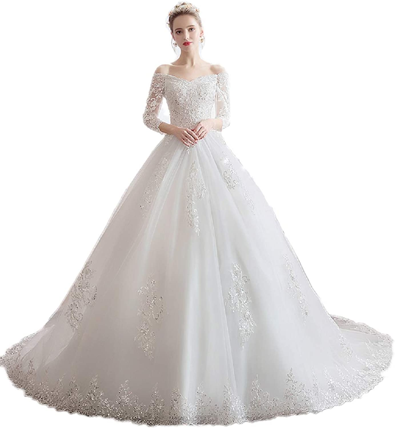 LYQPD damen es Lace Bridal Wedding Dresses Princess Tube Top Weiß Tail Long Sleeve Wedding Dress Luxurious and Elegant Temperament Wedding Dress