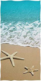 Naanle 3D Beautiful Starfish on Beach Sand Print Soft Bath Towel Highly Absorbent Large Hand Towels Multipurpose for Bathroom, Hotel, Gym and Spa (16