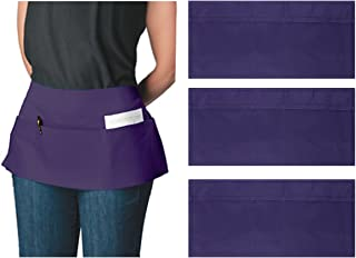 Ataly (3 Pack 3-Pocket Canvas Waist Aprons for Women & Men Bulk Set Short Waitress Waiter Server Half Apron