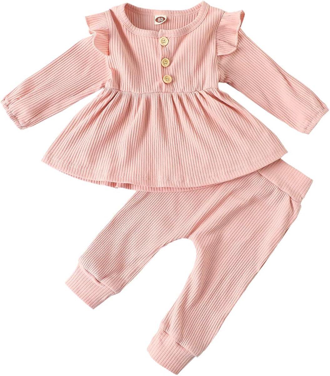 SAM PERKINS Newborn Baby Girls Knit Cotton Fall Winter Clothes Toddler Kids Ruffle Shirt Tee + Pants 2Pcs Outfits