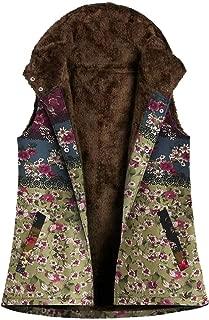 Macondoo Womens Winter Sleeveless Boho Printed Fleece Hoody Jacket Down Vest
