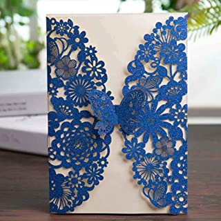 Wishmade Royal Blue Glitter Laser Cut Wedding Invitations Cards with Butterfly Lace Flower Design for Birthday Party Favor Supplies (Set of 20pcs)