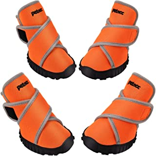 Petacc Dog Boots Waterproof Dog Shoes for Large Dogs Pet Boots Outdoor Shoes with Adjustable Reflective Velcro Rugged Anti-Slip Sole, 4Pcs