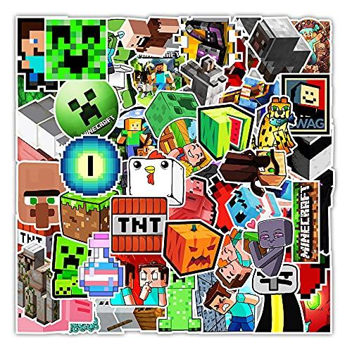 STKCST Dibujos Animados de Anime Minecraft Doodle Paquete de Pegatinas de Bricolaje Cuaderno Creativo Pegatina Calcomanía Decoración Maleta Pegatinas Coche Impermeable Colorido Lindo Vinilo estético
