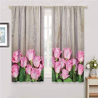 zojihouse Roses Decorations Collection Pink Roses Over Wooden Timber Table Valentines Day Top View Picture Curtains Pink Green Beige Darkening Curtains W72xL63